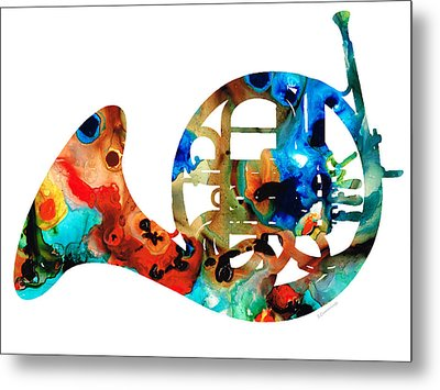 French Horn - Colorful Music By Sharon Cummings Metal Print by Sharon Cummings