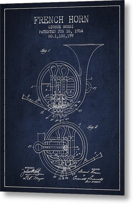 French Horn Patent From 1914 - Blue Metal Print