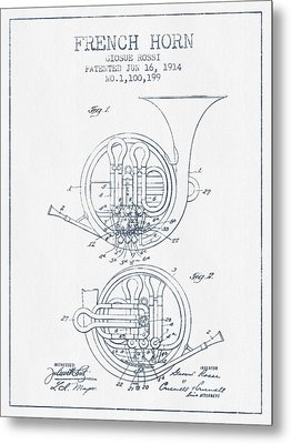 French Horn Patent From 1914 - Blue Ink Metal Print by Aged Pixel
