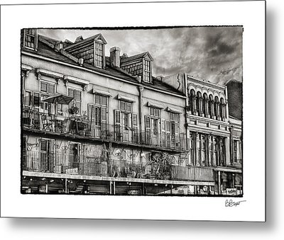 French Market View In Black And White Metal Print by Brenda Bryant