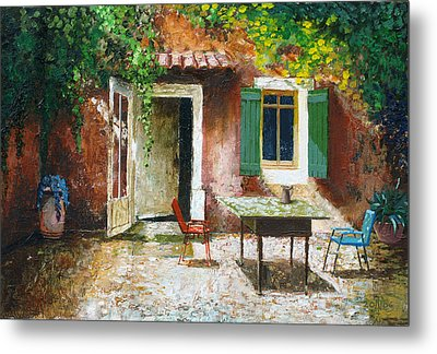 French Patio, 2006 Oil On Board Metal Print by Trevor Neal