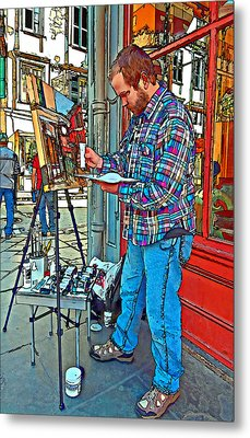 French Quarter Artist Painted Metal Print by Steve Harrington