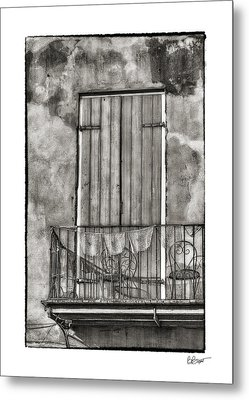 French Quarter Balcony In Black And White Metal Print by Brenda Bryant