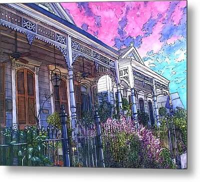 French Quarter Houses 377 Metal Print by John Boles