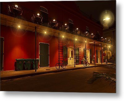 French Quarter In Red Metal Print