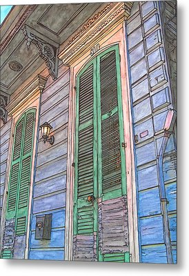 French Quarter Shutters 368 Metal Print by John Boles