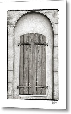 French Quarter Shutters In Black And White Metal Print by Brenda Bryant