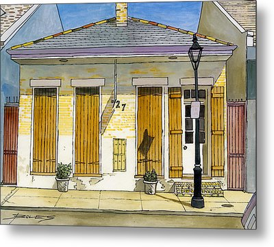 French Quarter Yellow Brick House 367 Metal Print by John Boles