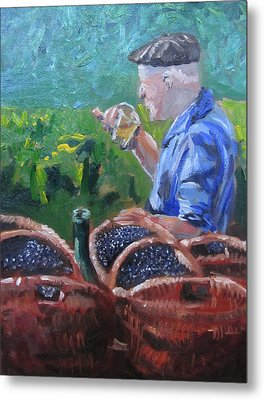 French Vineyard Worker Metal Print by Kendal Greer