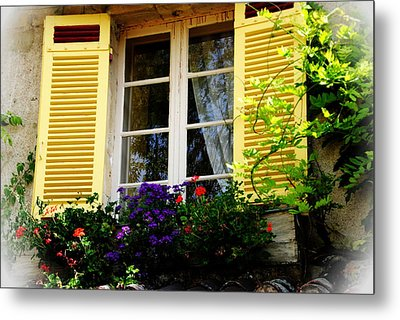 Metal Print featuring the photograph French Window Dressing by Jacqueline M Lewis