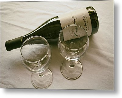 French Wine And Glasses Metal Print