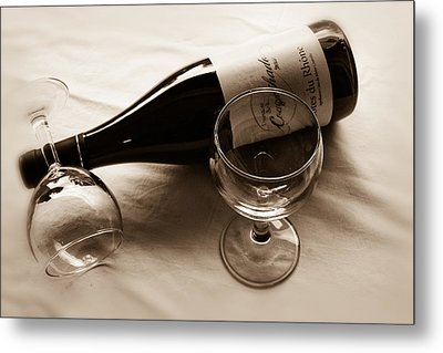 French Wine For Two Toned Metal Print