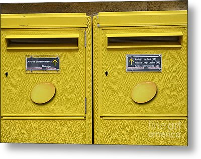 French Yellow Mailboxes Metal Print