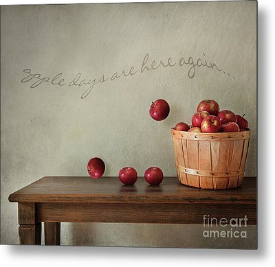 Fresh Apples On Wooden Table Metal Print by Sandra Cunningham