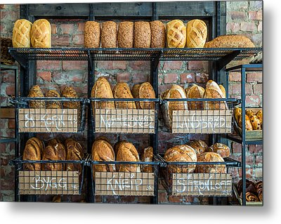 Fresh Baked Bread At Small Town Bakery  Metal Print by Aldona Pivoriene