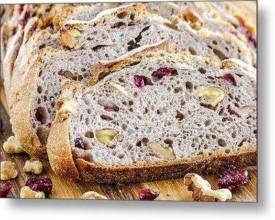 Fresh Baked Cranberry Walnut Bread Metal Print by Teri Virbickis