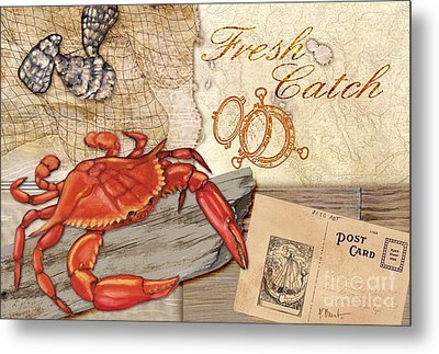 Fresh Catch Red Crab Metal Print by Paul Brent