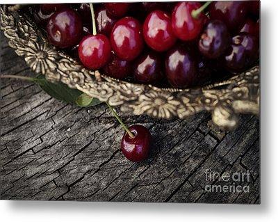 Fresh Cherry Metal Print by Mythja  Photography