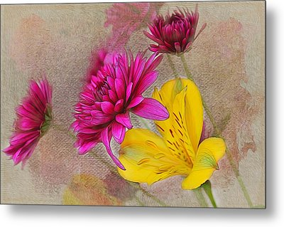 Fresh Flowers Painted Metal Print by Judy Vincent