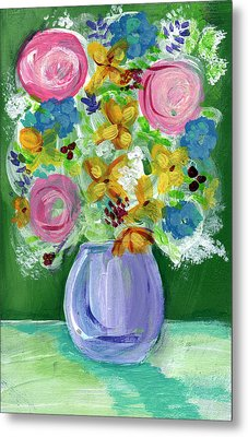 Fresh Flowers- Painting Metal Print by Linda Woods