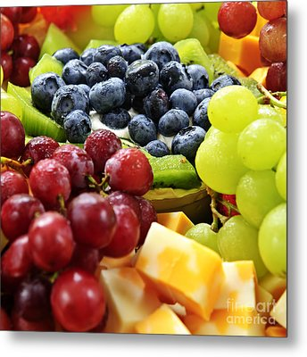 Fresh Fruits And Cheese Metal Print