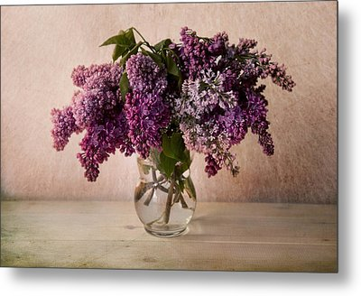 Fresh Lilac In Glass Flowerpot Metal Print by Jaroslaw Blaminsky