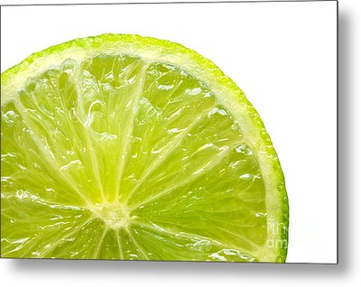 Fresh Lime Isolated On White Background Metal Print by Michal Bednarek