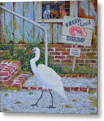 Metal Print featuring the painting Fresh Local Shrimp  by Dwain Ray