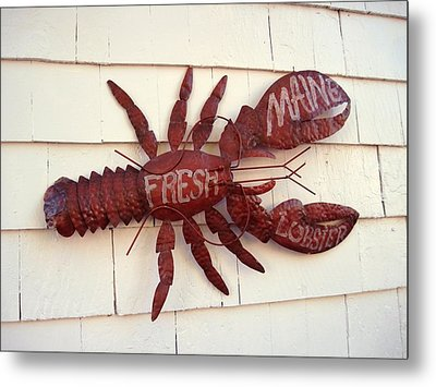 Fresh Maine Lobster Sign Boothbay Harbor Maine Metal Print by Patricia E Sundik
