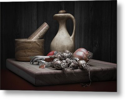 Fresh Onions With Pitcher Metal Print