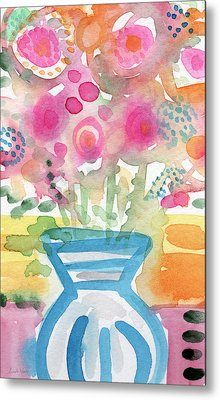 Fresh Picked Flowers In A Blue Vase- Contemporary Watercolor Painting Metal Print by Linda Woods