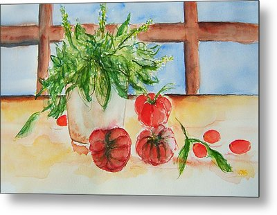 Fresh Picked Tomatoes And Basil Metal Print by Elaine Duras