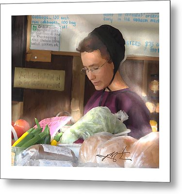 Metal Print featuring the painting Fresh Produce For Sale by Bob Salo