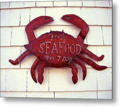 Fresh Seafood Sign Boothbay Harbor Metal Print by Patricia E Sundik