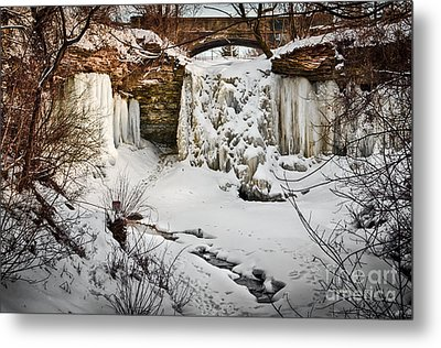 Fresh Snowfall At Wequiock Falls Metal Print