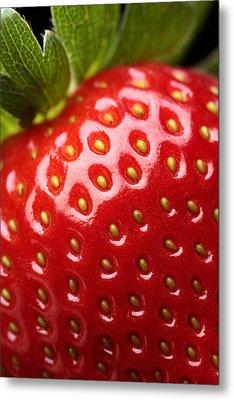 Fresh Strawberry Close-up Metal Print by Johan Swanepoel