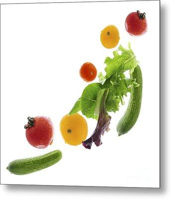 Fresh Vegetables Flying Metal Print by Elena Elisseeva