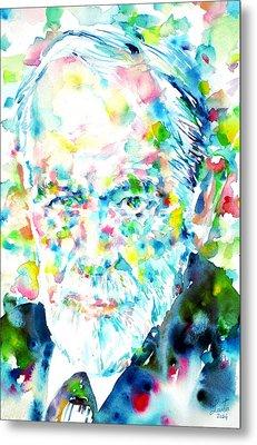 Sigmund Freud - Watercolor Portrait.1 Metal Print by Fabrizio Cassetta