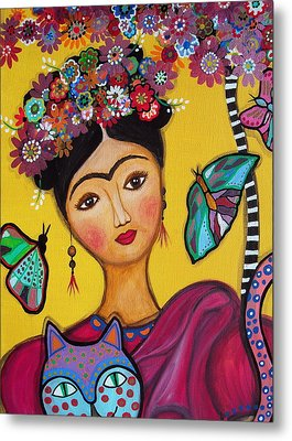 Metal Print featuring the painting Frida Kahlo And Her Cat by Pristine Cartera Turkus