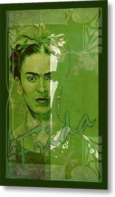 Frida Kahlo - Between Worlds - Green Metal Print by Richard Tito