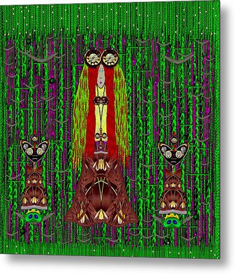 Frida Kahlo Have Arrived With Friends To The Fantasy Forest Metal Print