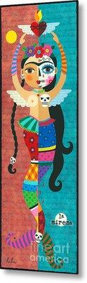 Frida Kahlo Mermaid Angel With Flaming Heart Metal Print by LuLu Mypinkturtle