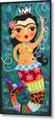 Frida Kahlo Mermaid Queen Metal Print by LuLu Mypinkturtle