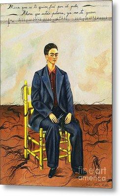 Frida Kahlo Self-portrait With Cropped Hair Autorretrato Con Pelo Cortado Metal Print by Pg Reproductions