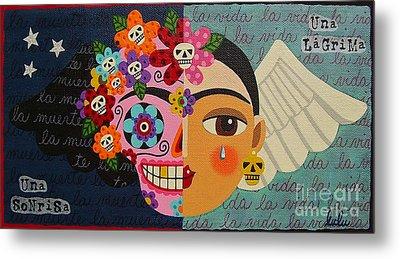 Frida Kahlo Sugar Skull Angel Metal Print by LuLu Mypinkturtle