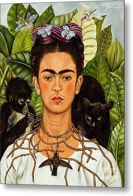 Frida Kahlo - Thorn Necklace And Hummingbird Metal Print by Roberto Prusso