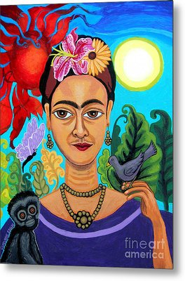 Frida Kahlo With Monkey And Bird Metal Print by Genevieve Esson