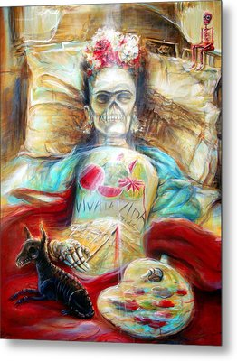 Frida Viva La Vida Metal Print by Heather Calderon
