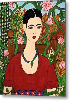 Frida With Vines Metal Print
