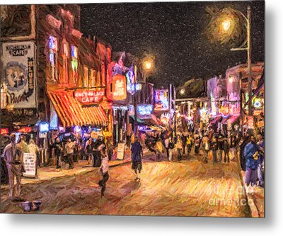 Friday Night On Beale Metal Print by Liz Leyden